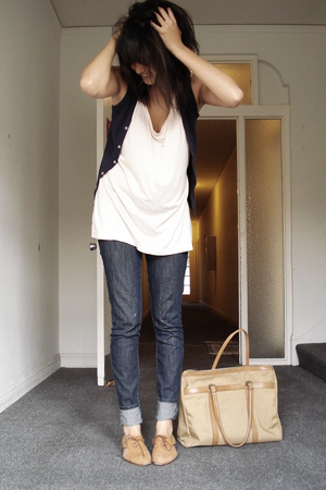 H&M top - American Apparel vest - BDG jeans - thrifted shoes