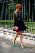 vintage dress - River Island bag - H&M sunglasses - H&M necklace - Zara heels