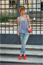 H&M bag - Levis jeans - Stradivarius heels - H&M blouse