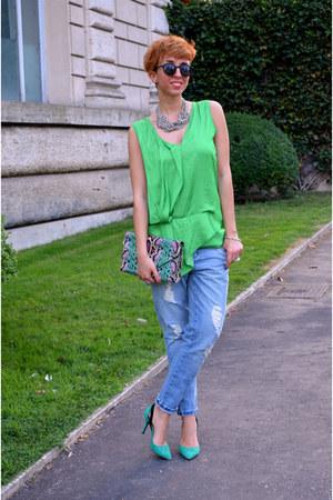 H&M bag - Zara jeans - H&M sunglasses - Zara heels - H&M necklace - Zara blouse