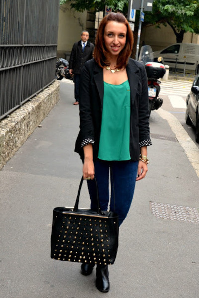 Sheinside blazer - H&M boots - pull&bear jeans - Mango top