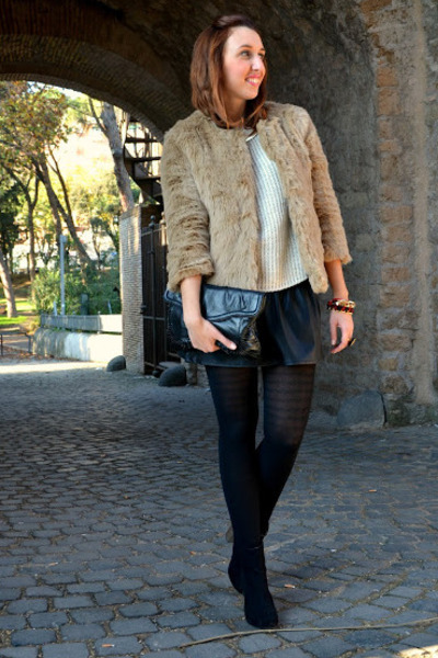 Zara boots - Zara coat - H&M sweater - H&M bag - Zara skirt