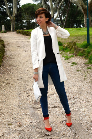 Sheinsidecom coat - Zara shoes - pull adn bear jeans - H&M bag - Zara blouse