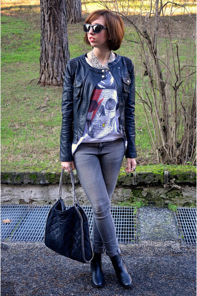 TANGRAM jacket - H&M boots - Mango jeans - Stella McCartney bag