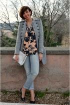 Zara coat - Stradivarius jeans - Zara sweater - H&M bag - Zara heels