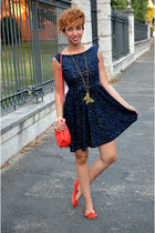 H&M bag - Zara dress - Mango flats - Place Minuit necklace