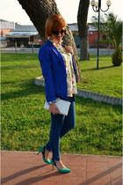 Zara blouse - Pull and Bear jeans - H&M blazer - Zara heels