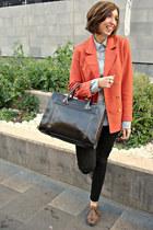 H&M blazer - Bershka jeans - Stradivarius shirt - Zara bag