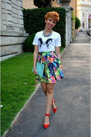 asos skirt - Wendy in Wonderland bag - sjf company t-shirt - Zara heels