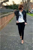H&M t-shirt - TANGRAM jacket - Zara pants - Zara heels - H&M bracelet