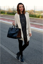 Zara bag - H&M boots - gazel dress - Zara cardigan
