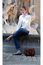 Sky-blue-antichi-telai-shirt-cream-zara-blazer-dark-brown-bag-bag