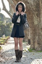 charcoal gray blugirl coat - navy Stefanel skirt - silver Zara blouse