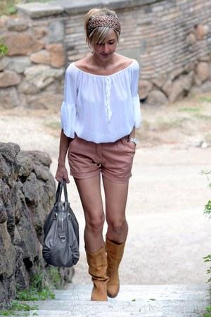 peach asos shorts - mustard no brand boots - silver paravidino bag