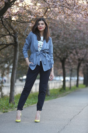 violet H&M coat - navy H&M pants - H&M t-shirt