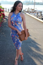 violet Zara dress - tawny Zara bag - tawny Zara sandals - Topshop necklace