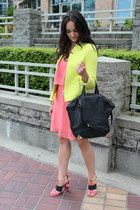 yellow Zara blazer - bubble gum Forever 21 dress - Zara heels