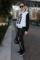 black rag&bone jeans - black silk varsity Babaton jacket