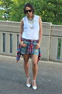 Ruby-red-flannel-topshop-t-shirt-blue-denim-gap-shorts-white-cotton-tna-top