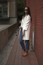 white Zara coat - navy Current Elliott jeans - Karen Walker sunglasses