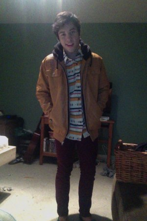 mustard faux leather Advocate jacket - cream pattern Koto shirt