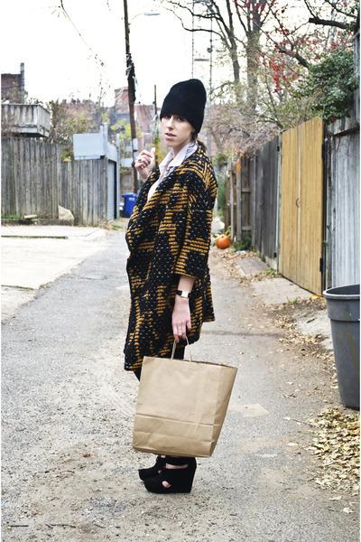 Zamrie coat - J Brand jeans - JCrew blouse - Matiko wedges