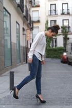 blue Topshop jeans - black Zara shoes - white Zara shirt