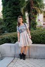 Gray-h-m-top-beige-vero-moda-dress-black-zara-shoes-silver-blanco-necklace