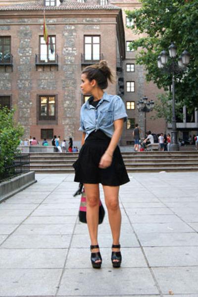 blue Zara shirt - black Topshop top - black Zara clogs - asos skirt - BLANCO bag