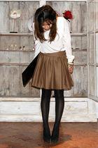 beige Guadalupe del rio shirt - black Zara shoes - brown Guadalupe del rio skirt