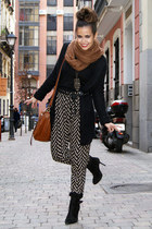Topshop scarf - Zara cardigan - Oysho pants - Zara boots - DAY A DAY bag