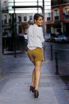 beige Zara blouse - beige Zara shorts - brown Zara shoes