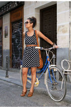 black Nasty Gal dress - brown asos bag - brown Zara belt - brown Zara shoes - Ba