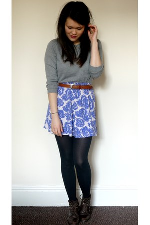 paisley asos skirt - grey asos sweater
