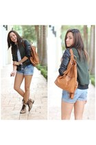 denim hollister shorts - Steve Madden boots - Forever21 jacket