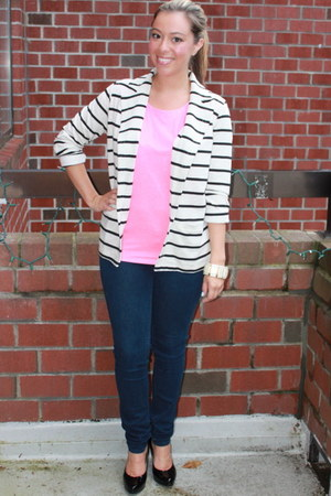 navy Forever 21 blazer - blue J Crew leggings - hot pink JCrew shirt