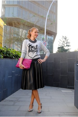 Escorpion sweater - Zara shoes - Zara bag - Sheinside skirt - Zara accessories
