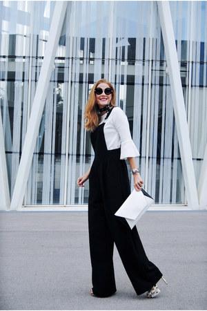 black ovs romper - Zara shirt - Zara bag - Carolina Lemke sunglasses