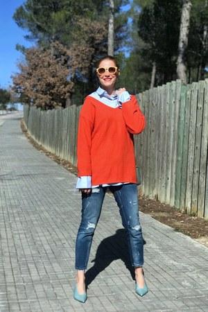 Tous bag - Zara jeans - Yoins sweater - Mango blouse - Mango heels