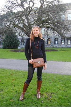 black Zara sweater - tawny Callaghan boots - black Zara leggings