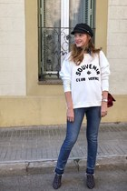 Pimkie hat - Zara boots - SANDRO jeans - Carolina Herrera bag