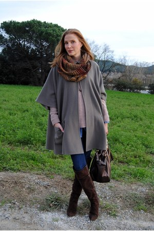 vintage cape - Nine West boots - Zara jeans - Lucky Brand sweater