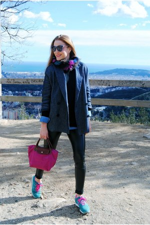 Zara sweater - Wolford leggings - Mango blazer - longchamp bag - asics sneakers
