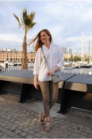 pull&bear blouse - Zara leggings - ecco bag - Zara wedges
