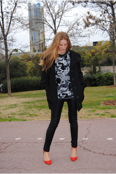 leather Bershka pants - Pepe Jeans coat - Zara sweater - nice things bag
