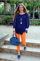Bimba y Lola bag - Mango jeans - Zara heels - Zara blouse - sphera necklace