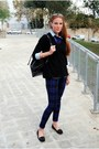 Zara-sweater-moschino-bag-lefties-blouse-mango-pants-bershka-loafers