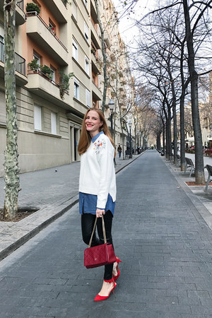 zaful sweater - Wolford leggings - Carolina Herrera bag - hm blouse - Zara heels