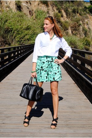 pull&bear shirt - Furla bag - Zara shorts - Bimba & Lola wedges