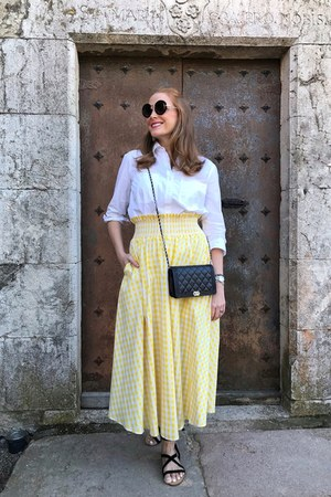 zaful skirt - Chanel bag - green coast blouse - Mango sandals